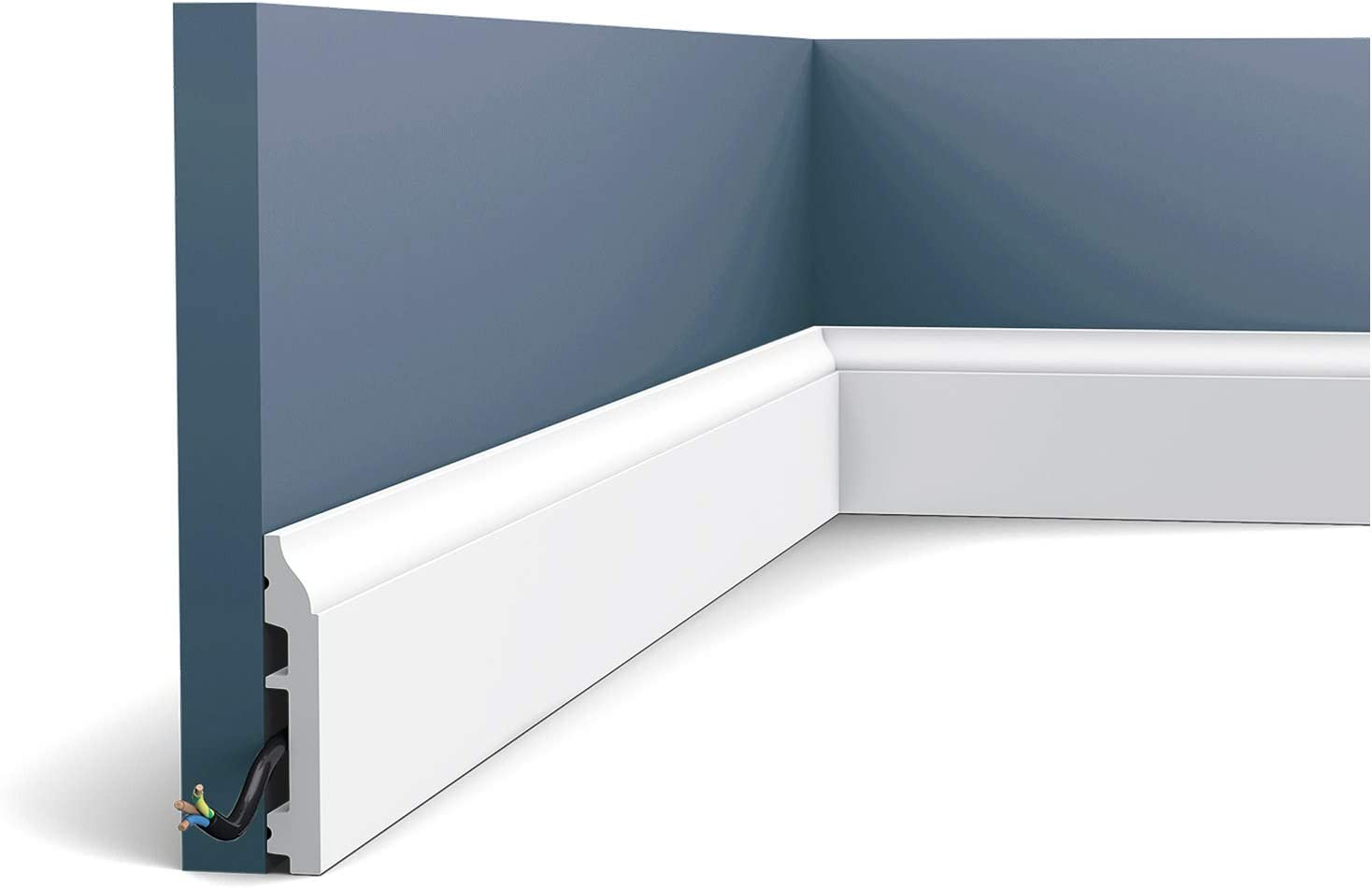 Orac Decor | High Impact Flexible Polyurethane Baseboard Moulding | Primed White | 3-3/8in H x 78in Long