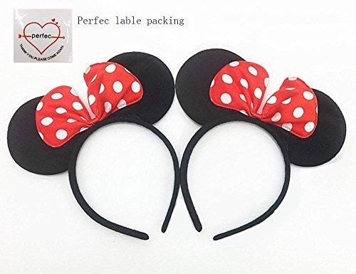 Perfec Black Red & White Polka Minnie Mouse Headband for Girls Birthday Party or Celebrations Christmas Set of (Disney Minnie Ears Headband)