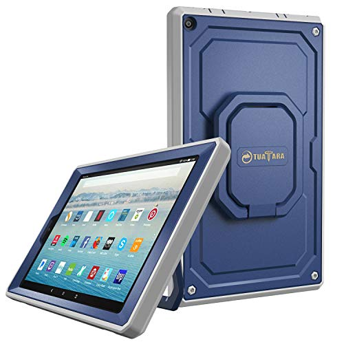 Fintie Case for All-New Amazon Fire HD 10 Tablet (7th Gen 2017) - [Tuatara Magic Ring] [360 Rotating] Multi-Functional Grip Stand Shockproof Protective Carry Cover w/Built-in Screen Protector, Navy