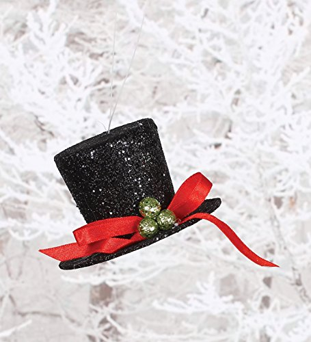 Black Glitter and Holly Berry Top Hat 2 inch Christmas Ornament Decortion (Black Top Hat For Snowman)