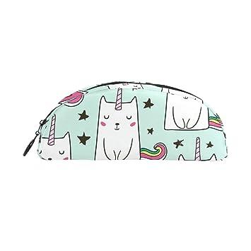 Bonipe - Estuche de unicornio con diseño de gatos para bolígrafos, bolso, monedero y maquillaje: Amazon.es: Oficina y papelería