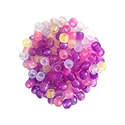 Miraclekoo 1000 Pcs UV Beads Multi Color Changing UV Reactive Plastic Pony Beads, Glows in the Dark, Fun for Jewelry / Bracelets Making