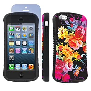 Apple iphone 5C Ultra Shock Absorbent Tough Grip Black Case + Screen Protector By SkinGuardz - Rainbow Rose