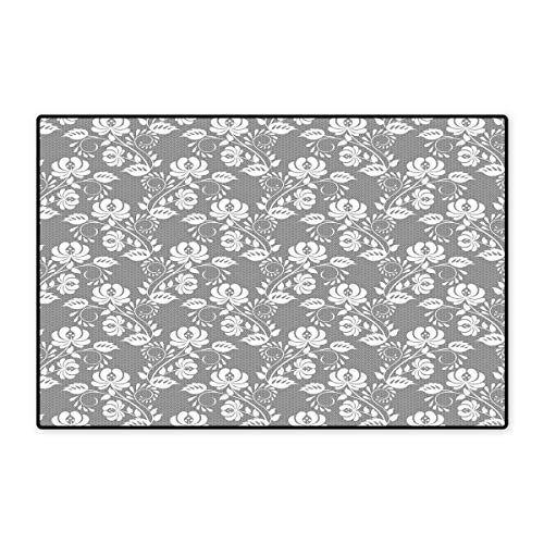 (Floral Floor Mat for Kids Flower Silhouettes with Lace Patterned Background Leaves Swirls Dots Abstract Image Floor Mat Pattern 32