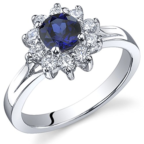Ornate Floral 0.75 carats Created Sapphire Ring in Sterling Silver Rhodium Nickel Finish Size 5 (Ornate Floral Ring)