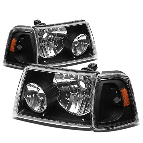 04 Smoked Headlight Film - For Ford Ranger 4Pcs Black Housing Amber Corner Headlight+Corner Lights Kit Replacement