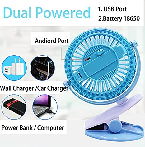 Bedroom USB /& Battery Powered Desktop Clip Fan Low Noise 360 Angles Rotating Personal Table Fan w// 80CM USB Cable,Suitable for Home Dormitory,Office,Outdoor Activies Adjustable Speed