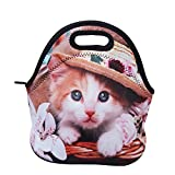 Lunch Boxes, OFEILY Lunch Tote Lunch bags with Neoprene(Middle, Hat cat)