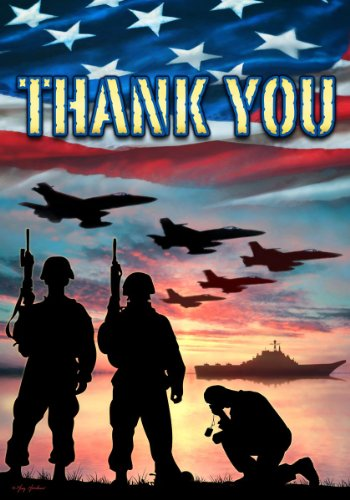 Custom Decor Thank You - USA Military Services - Garden Size