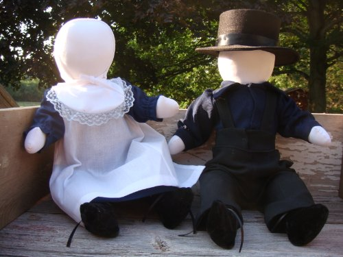 Traditional Handmade Amish Girl and Boy Doll Set, Approximately 15 Each. Handmade By the Ohio Amish on the Old-fashioned Treadle Sewing Machine. Arms…