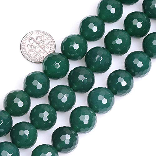 14mm Faceted Round Green Agate Beads Loose Gemstone Beads for Jewelry Making Strand 15 Inch (26-28pcs)