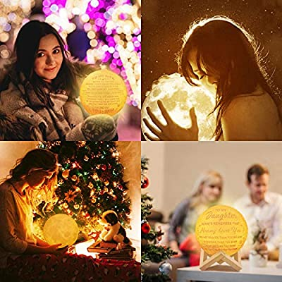 Engraved 3D Moon Lamp for Daughter, Personalized 5.9 Inch 3D Printing Moon Light Gift for Daughter Son Graduation Gift from Mom, from Dad (for Duaghter Form Dad)
