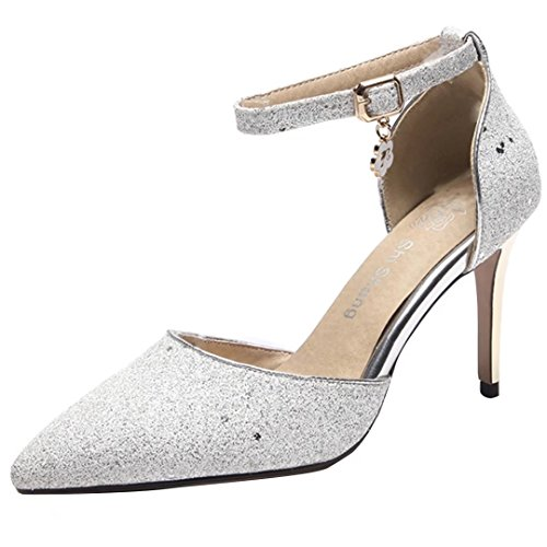 High Strap Pumps Shoes Court Stiletto Heel Point Shoes Ladies Ankle Toe Closed Toe Glitter Silver AIYOUMIE ECOwRqx