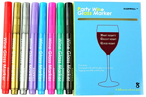 GAINWELL-Wine-Glass-Markers-Pack-of-8-Food-Safe-Non-Toxic-Wine-Glass-Marker-Pens-Great-Way-to-Personalize-your-Guests-Drinks-Can-also-be-Used-on-Ceramic-Plates-and-other-Glass-and-Dinnerware