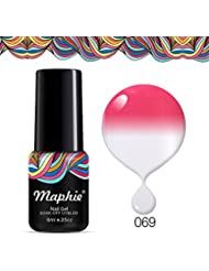 Gel Nail Polish, Soak Off Gel Polish, Required UV LED Nail Light Lamp, Hot Pink to Glitter White 6ml, Maphie