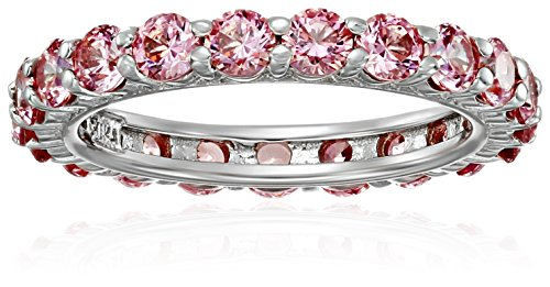 Platinum-Plated Sterling Silver Fancy Pink All-Around Band Ring made with Swarovski Zirconia, Size 5