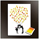 Fingerprints Tree, Proboths Creative Wedding Guest Signature Sign-in Book Canvas Ballons Tree Fingerprints Painting Decor for Wedding Party with 4pcs Ink Pads