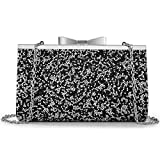 Yuenjoy Womens Rhinestone Clutch Purse Evening Bags with Bow Closure