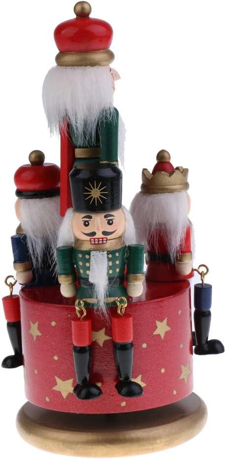 Vintage Wooden Nutcracker Soldier Figures Model Wind Up Music Box Home Ornaments