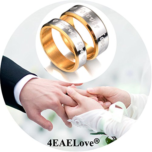 Stainless Steel Promise Ring Gold Heart Engraved Forever Love Couple Ring Wedding Engagement Band Top Ring (Men Gold, 9) - 18k Gold Electroplated Mens Ring