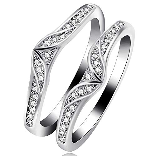Uloveido Fashion Silver Color Engagement Wedding Ring Enhancer for Women, White Gold Plated Princess Crown Hollow Rings Enhancers for Anniversary Rings Size 6 Y475