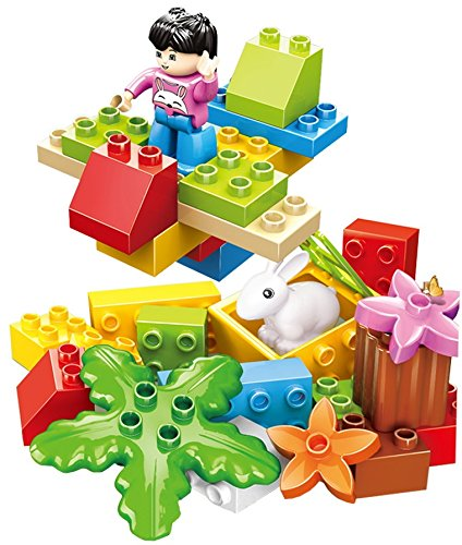 Full 30 pcs Building Blocks Zoo Safari Plane Set with a Rabbit and Friendly Figure Little Builder DIY Xpress a Great Way to Help a 3+ Kid Learn About Nature /& Animals Little Treasures Plants