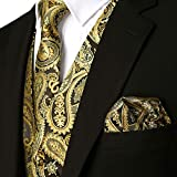 ZEROYAA Mens Classic 3pc Jacquard Paisley Vest Set Necktie Pocket Square Waistcoat for Suit or Tuxedo