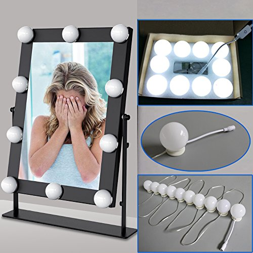 Hollywood Style LED Vanity Mirror Lights Kit for Makeup Dressing Table Vanity Set Lighted Mirrors with Dimmer and Power Supply Plug in Lighting Fixture Strip, 10 Bulbs, Mirror Not Included