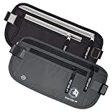 Travel Money Belt - Keeps Your Cash Safe When Traveling - Hidden Waist Passport Holder With RFID Blocking Is Designed For Superior Anti-Theft Protection and Comfort Twin Pack (Black + Gray)