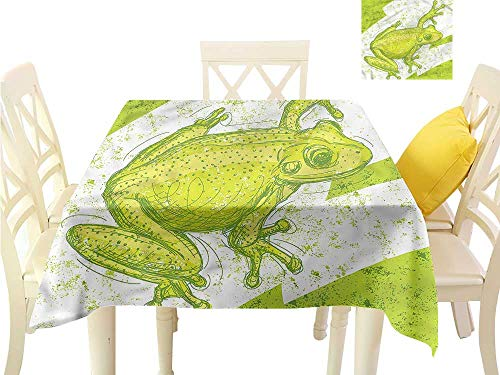 WilliamsDecor Square Tablecloth Animal,Dirty Grunge Effect and Frog BBQ Tablecloth W 70
