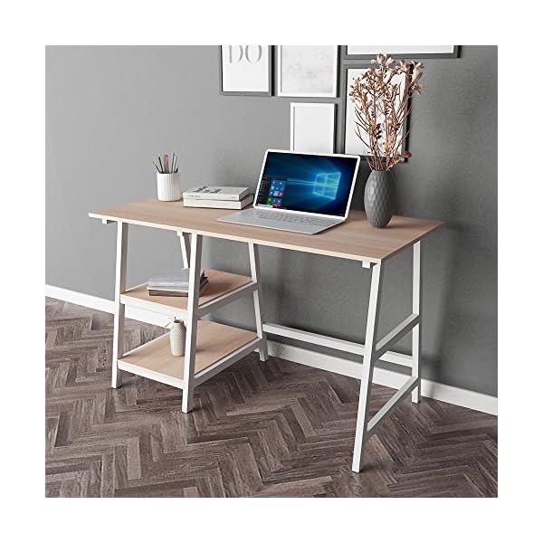 sogesfurniture Bureau d'ordinateur en Bois et Acier, 120 * 60cm Bureau Informatique avec 2 étagères, Table de Bureau…
