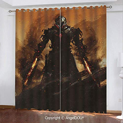 SCOCICI Set of 2 Panels Customized Durable Blackout Grommet Window Curtains Robot Warrior Terminator at War Fire Sword Paint Style Futuristic for Bathroom Living Room Bedroom