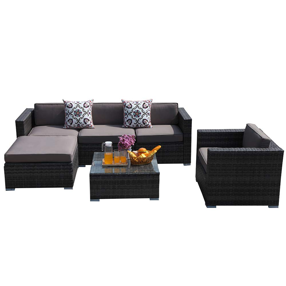 PATIOROMA Outdoor Furniture,6 Piece Patio Sectional Sofa Set with Dark Grey PE Wicker Furniture,Light Brown Cushions,Plus 2 Pillows