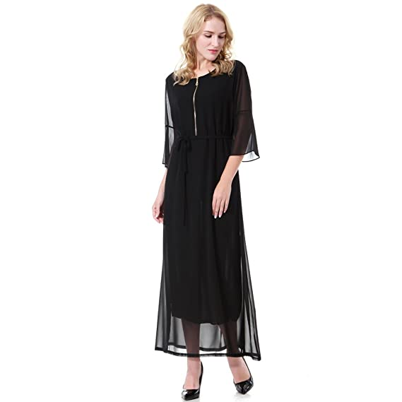 HGDR Women Chiffon Prom Dress Formal 1/2 Sleeve Round Neck Evening Dress Cocktail Bridesmaid