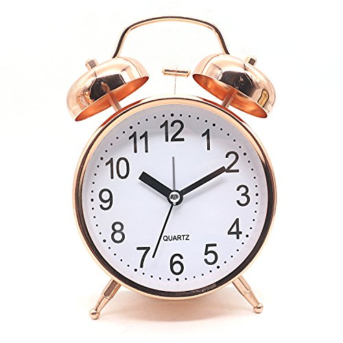 4.7inches Bedside fashion simple alarm clock - Classical Double Bell Silent non ticking Desk Table Alarm Clock Bedroom Office Clock with Night vision lights,Rose gold , rose gold Yujiadayuan