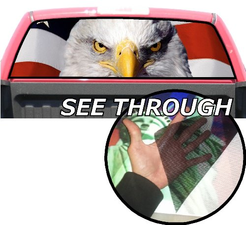 P177 American Flag Eagle Tint Rear Window Decal Wrap Graphic Perforated See Through Universal Size 65