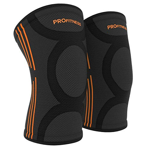 ProFitness Knee Sleeves (One Pair) Knee Support for Joint Pain & Arthritis Pain Relief – Effective Support for Running, Pain Management, Arthritis Pain, Post Surgery Recovery (XX-Large, Black/Orange)