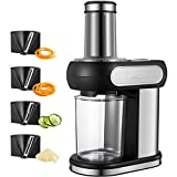 zucchini spaghetti maker electric - Aicok Electric Spiralizer, Vegetable Slicer with 4 Blades for Cutting, Stripping and Spiraling, Veggie Pasta & Spaghetti Maker, Stainless Steel Body, 2.5 Inch Wide Chute