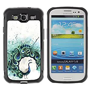 Lady Case@ Teal Peacock Feather Painting Bird Rugged Hybrid Armor Slim Protection Case Cover Shell For S3 Case ,I9300 Case Cover ,I9308 case ,Leather for S3 ,S3 Leather Cover Case
