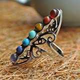 DOOPOOTOO 925 Silver Healing Hollow Stones Adjustable 7 Chakra Ring Thumb Reiki Gem Ring