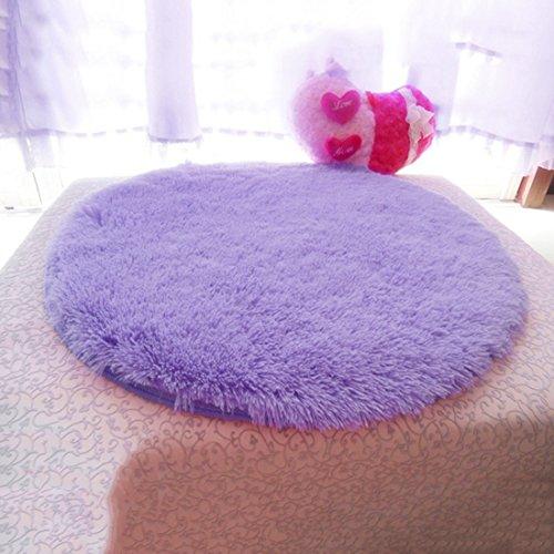 Enerhu Qianle Round Area Rugs Super Soft Livingroom Bedroom Home Shag Carpet Purple