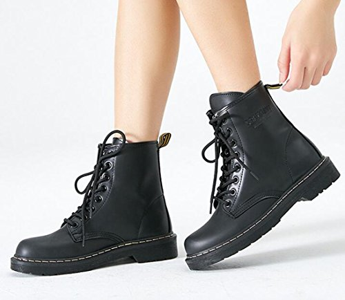 Bumud Women's Round Toe Military Lace Up Ankle High Low Heel Combat Boots Faux Fur Lined Shoes
