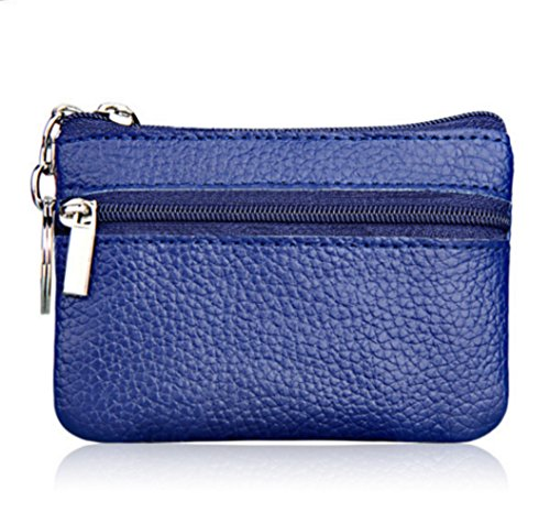 YaJaMa Womens Genuine Leather Zip Wallet Mini Coin Purse with Key Ring (Blue)
