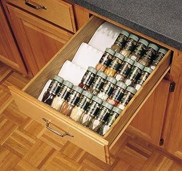Amazon Com Rev A Shelf Trimmable Spice Drawer Insert Almond Spice Racks Kitchen Dining