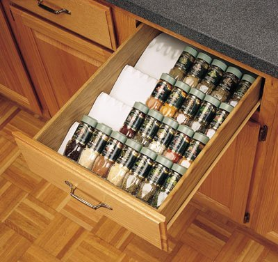 Genial Rev A Shelf Trimmable Spice Drawer Insert Almond
