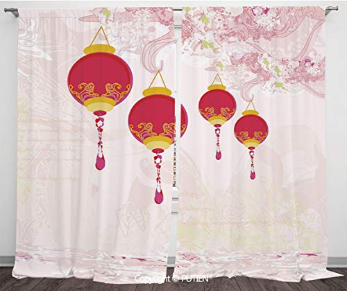 (Satin Window Drapes Curtains [ Lantern,New Year of Chinese Calendar Celebrations Eastern Imagery Abstract Asian Art Decorative,Hot Pink Yellow ] Window Curtain Window Drapes for Living Room Bedroom Do)