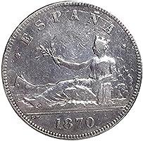 IMPACTO COLECCIONABLES Monedas Antiguas - España 5 Pesetas de Plata de 1870. República: Amazon.es: Juguetes y juegos