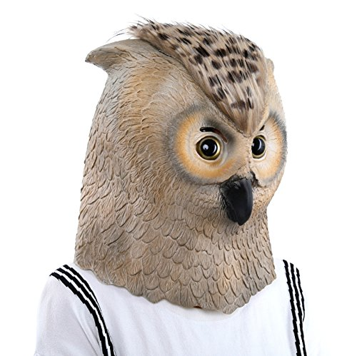 Lubber Deluxe Halloween Owl Costume Cosplay Latex Animal Head Mask for Party ()
