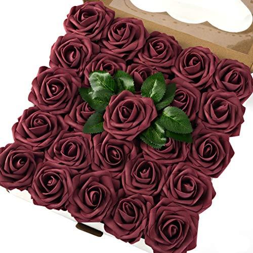 Breeze Talk Artificial Flowers Mauve Roses 50pcs Realistic Fake Roses w/Stem for DIY Wedding Bouquets Centerpieces Arrangements Party Baby Shower Home Decorations (50pcs Mauve)