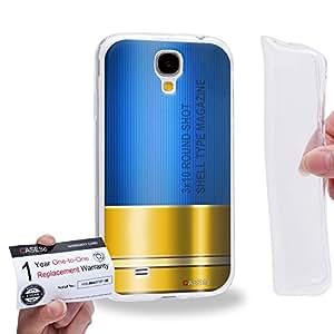 Case88 [Samsung Galaxy S4] Gel TPU Carcasa/Funda & Tarjeta de garantía - Art Fashion Blue Shoutgun Magazine Gunner Metal Slugs 1817